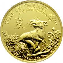 Zlatá investiční mince Rok Krysy Lunární The Royal Mint 1 Oz 2020