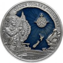 Stříbrná mince 3 Oz 250. výročí průzkumné plavby Jamese Cooka 2020 Antique Standard