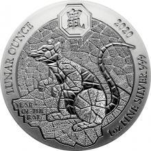 Strieborná investičná minca Rok Krysy Rwanda 1 Oz 2020