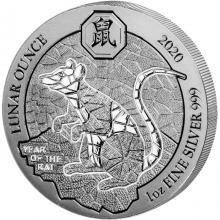 Stříbrná investiční mince Rok Krysy Rwanda 1 Oz 2020
