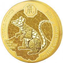 Zlatá mince Rok Krysy Rwanda 1 Oz 2020