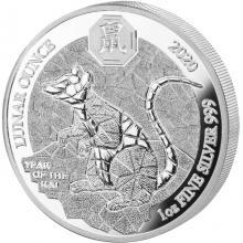 Stříbrná mince 1 Oz Rok Krysy Rwanda 2020 Proof