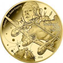 Zlatá mince letadlo Lockheed P-38 Antoine De Saint-Exupéry 1/4 Oz 2019 Proof