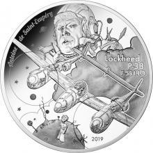 Stříbrná mince letadlo Lockheed P-38 Antoine De Saint-Exupéry 2019 Proof