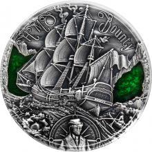 Stříbrná mince 2 Oz Zlatý věk plachetnic - HMS Bounty 2019 Antique Standard