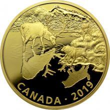 Stříbrná pozlacená mince Predátor a kořist - vlci a jelen 2 Oz 2019 Proof
