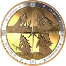 Strieborná pozlátená mince 500g Tall Ships of Canada 2019 Proof