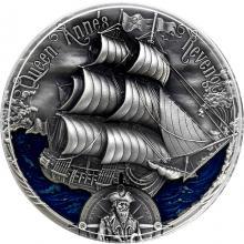 Stříbrná mince 2 Oz Zlatý věk plachetnic - Pomsta královny Anny 2019 Antique Standard