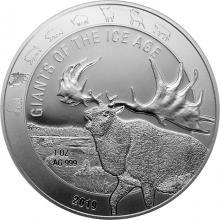 Stříbrná investiční mince Obři doby ledové - Jelen obrovský 1 Oz 2019