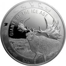 Stříbrná investiční mince 1 Kg Obři doby ledové - Jelen obrovský 2019