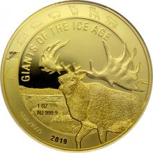 Zlatá investiční mince Obři doby ledové - Jelen obrovský 1 Oz 2019