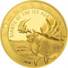 Zlatá investičná minca Obri doby ľadovej - Jeleň obrovský 1 Oz 2019