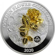 Stříbrná mince Golden Flower Collection - zlatá 3D růže 1 Oz 2020 Proof