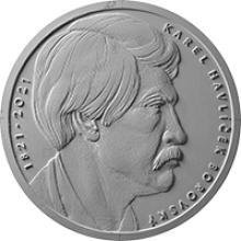 Strieborná minca 200 Kč Karel Havlíček Borovský 200. výročie narodenia 2021 Proof