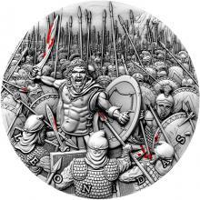 Stříbrná mince Velcí vojevůdci - Leonidas 2 Oz High Relief 2019 Antique Standard