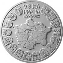 Stříbrná mince 10000 Kč Založení Velké Prahy 1kg 2022 Leštěná