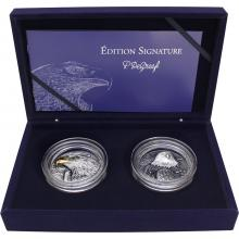 Exkluzivní sada stříbrných mincí American Eagle High Relief 2020 Antique Standard
