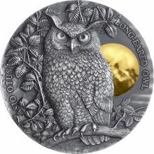 Stříbrná pozlacená mince 2 Oz Kalous ušatý 2019 Antique Standard