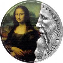 Stříbrná kolorovaná mince 2 Oz Mona Lisa Leonardo da Vinci 2019 Antique Standard