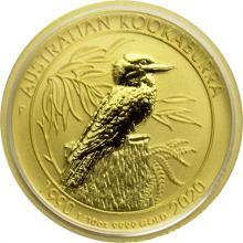 Zlatá investiční mince Kookaburra Ledňaček 1/10 Oz 30. výročí 2020