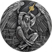 Stříbrná pozlacená mince Bohové hněvu - Horus 2 Oz High Relief 2020 Antique Standard