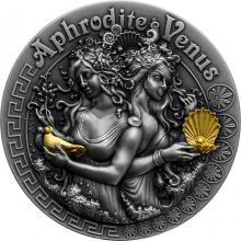 Stříbrná pozlacená mince Bohyně: Afrodita a Venuše 2 Oz High Relief 2020 Antique Standard