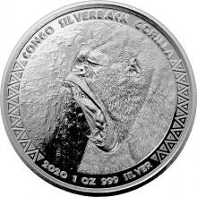 Stříbrná investiční mince Kongo Gorila 1 Oz 2020