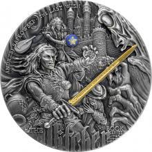 Stříbrná pozlacená mince Zaklínač - Poslední přání 2 Oz High Relief 2019 Antique Standard