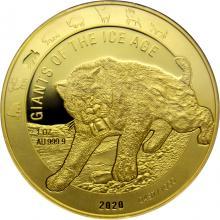 Zlatá investiční mince Obři doby ledové - Šavlozubý tygr 1 Oz 2020