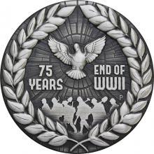 Stříbrná mince 2 Oz 75. výročí konce 2. světové války 2020 Antique Standard