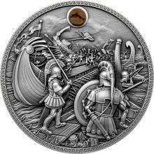 Stříbrná mince Námořní bitvy - Bitva u Salamíny 2 Oz High Relief 2019 Antique Standard