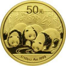 Zlatá investiční mince Panda 1/10 Oz 2013