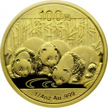 Zlatá investičná minca Panda 1/4 Oz 2013