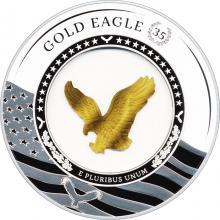 Strieborná minca so zlatým orlom Eagle v sklenenej výplni - 35. výročie 2021 Proof