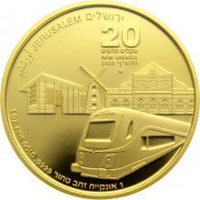 Vlak do Jeruzalému desátá zlatá investiční mince Izraele 1 Oz 2020