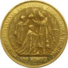 Zlatá minca Stokorunáčka 40. výročie korunovácie Františka Jozefa I. Rakúsko - Uhorsko 1907