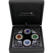 Nga Hau e Wha The Four Winds Sada stříbrných kolorovaných mincí 2020 Proof
