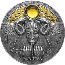 Stříbrná pozlacená mince Božské tváře Slunce - Amun-Ra 3 Oz 2020 Antique Standard