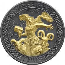 Stříbrná pozlacená mince Severští bohové - Thor 2 Oz High Relief 2020 Antique Standard