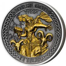 Strieborná pozlátená minca Severskí bohovia - Thor 2 Oz High Relief 2020 Antique Standard