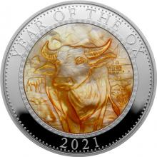 Stříbrná mince 5 Oz Year of the Ox - Rok Buvola 2021 Perleť Proof