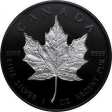 Stříbrná mince Maple Leaf - pokovená černým rhodiem 1 Oz - Incuse 2020