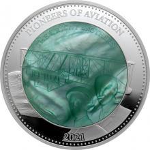 Stříbrná mince 5 Oz Průkopníci letectví - bratři Wrightové 2021 Perleť Proof