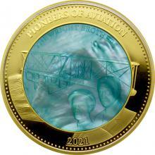 Zlatá mince 5 Oz Průkopníci letectví - bratři Wrightové 2021 Perleť Proof
