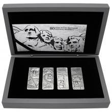 Sada čtyř stříbrných mincí Mount Rushmore 2021 Antique Standard