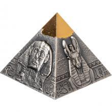 Strieborná pozlátená mince 5 Oz Rachefova pyramída 2021 Antique Standard