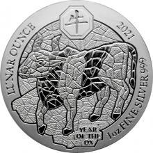 Stříbrná investiční mince Rok Buvola Rwanda 1 Oz 2021