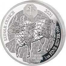 Stříbrná mince 1 Oz Rok Buvola Rwanda 2021 Proof