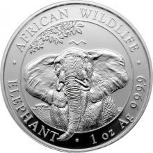 Stříbrná investiční mince Slon africký Somálsko 1 Oz 2021