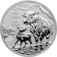 Stříbrná investiční mince Year of the Ox Rok Buvola Lunární 2 Oz 2021